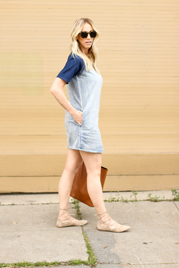parlor girl denim shirt dress lace up flats casual weekend style