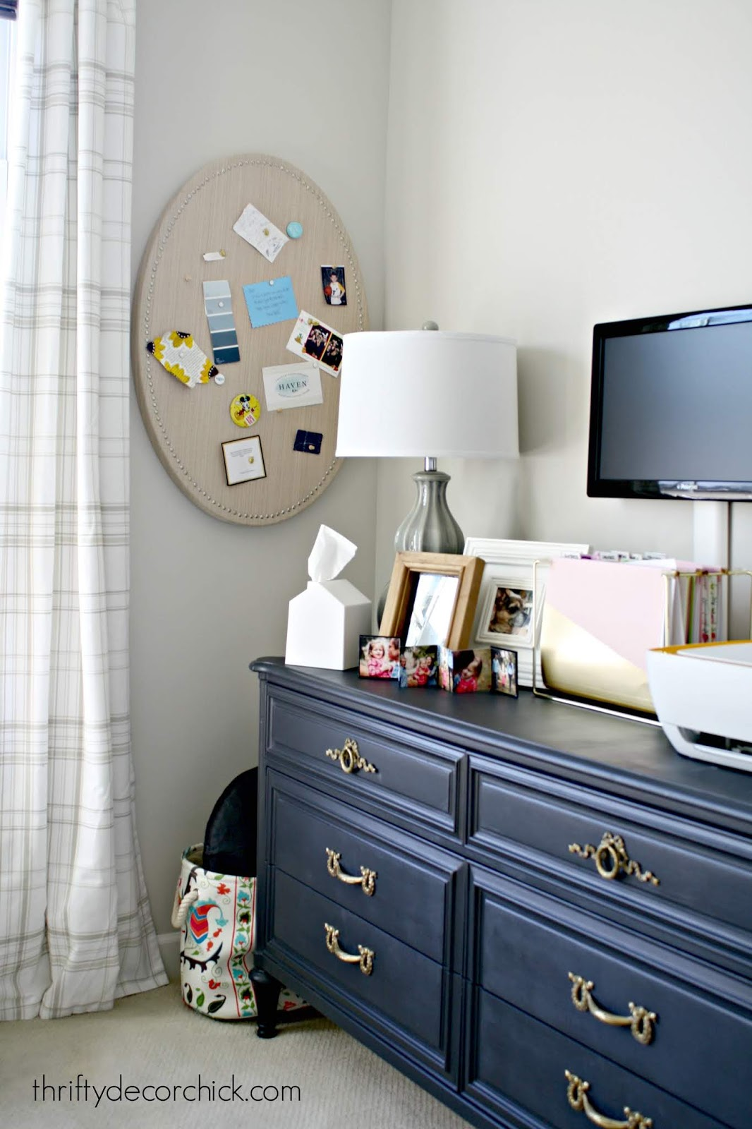 Using a dresser for storage in office