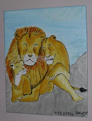 Тя символизира именно сплотеното и здраво семейство. Това е първата моя картина на платно направена на 04.12.2012 год.