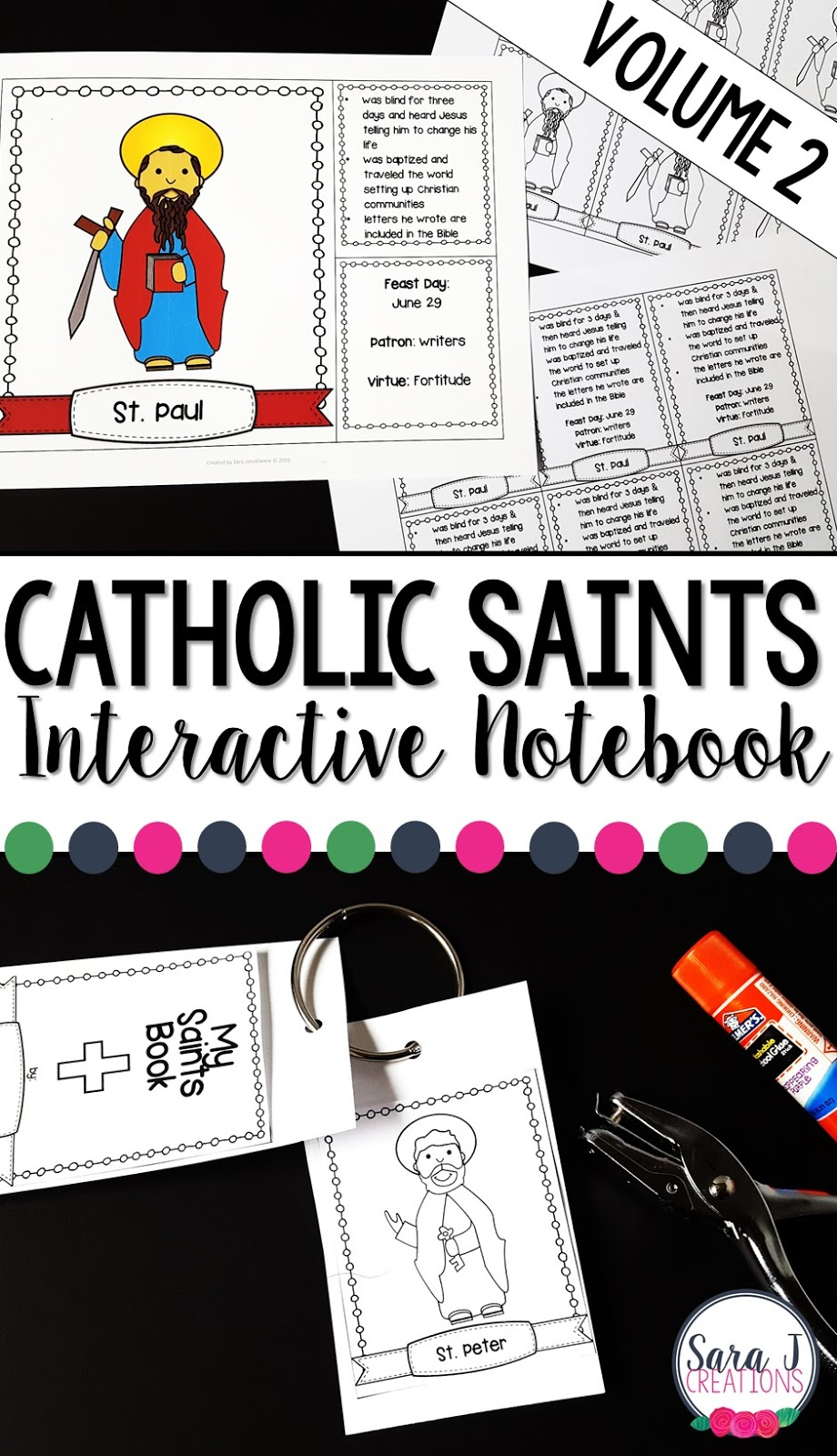 Catholic Saints facts for kids that can be used as an interactive notebook, flip book or flashcards.  Includes 25 beloved saints.