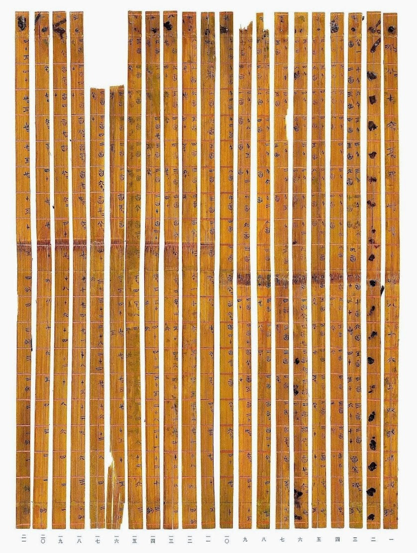 China: Ancient times table hidden in Chinese bamboo strips