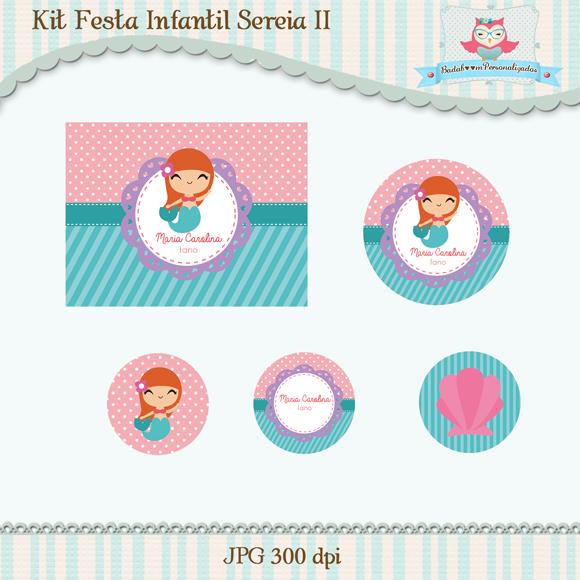 Kit de artes digitais para festa infantil no tema Sereia