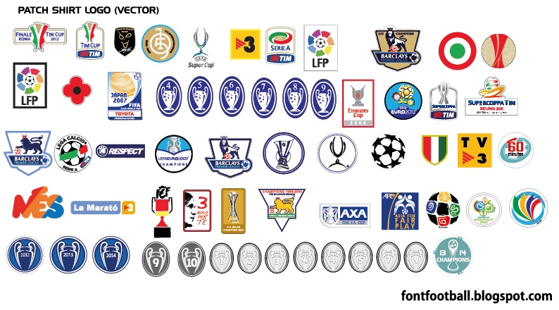 FONT FOOTBALL: Patch Shirt on Vector ( Mes fifa japan euro