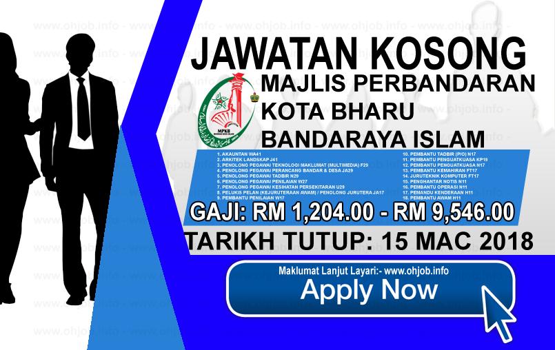 Jawatan Kerja Kosong Majlis Perbandaran Kota Bharu - MPKB-BRI logo www.ohjob.info mac 2018