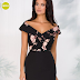 Rochie midi eleganta neagra cu trandafiri roz pentru ocazii ieftina de toamna