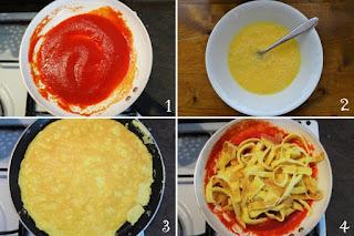 foto preparazione ricetta trippa finta con uova per bambini