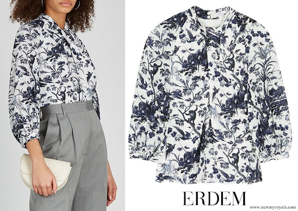 Crown Princess Mary wore ERDEM Arlette printed crepe de chine blouse