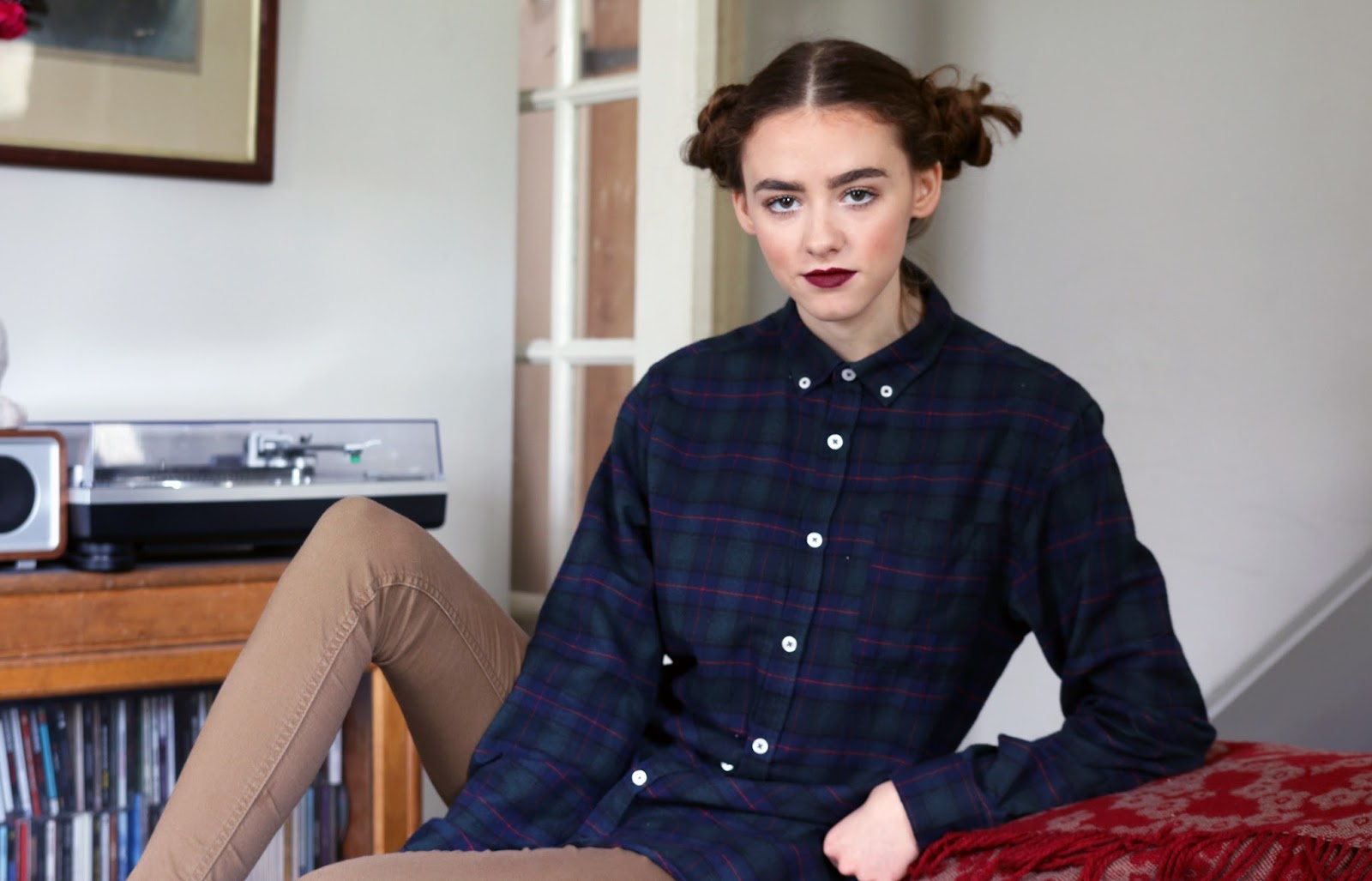 tartan, fashion blogger, british, ootd, grace mandeville, mandeville sisters, tommy hilfiger dungarees, overalls, shorts, tommy, hilfiger, urban outfitters, urban outfitters exclusive, boys, clothes, shirts, buns, mandeville, lol, fashion, eyebrows,