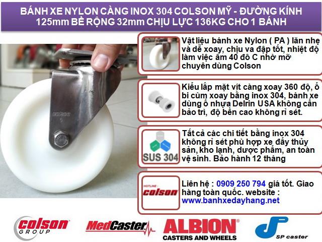 Bánh xe xoay 360 Nylon càng inox 304 Colson Mỹ 5 inch| 2-5456-254 banhxedaycolson.com