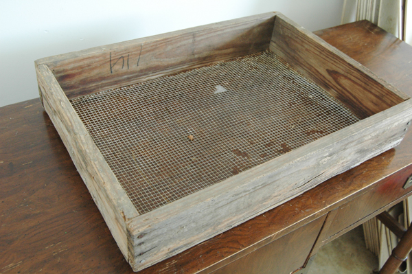 vintage wood and chicken wire box