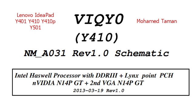Lenovo IdeaPad Y401 Y410 Y410p Y501 (VIQY0 NM-A031) Laptop Schematics