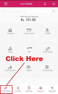 how to send money from axis bank app