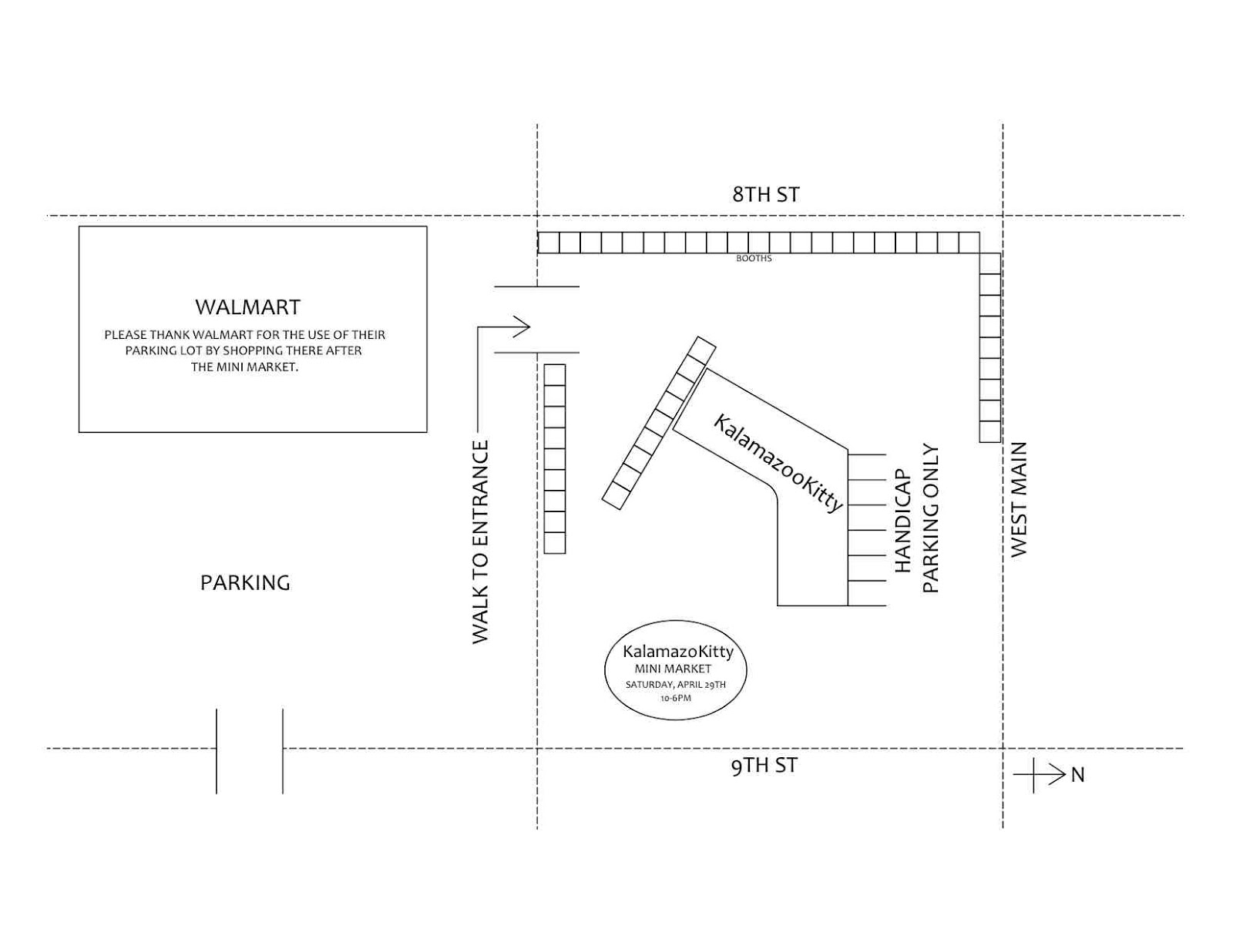 then walk toward the back of walmart until you see our entrance it is fast and easy and eliminates the need to walk along west main and 9th street