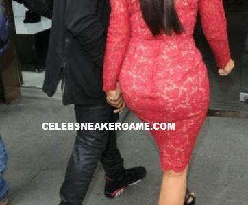 69423776d685d1 Celeb Sneaker Game  Kanye West With Kim Kardashian Rockin Air Jordan ...