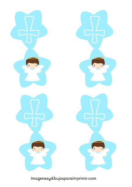 Angelito: Etiquetas, Toppers o Decoración de Mesa de Primera Comunión de Niño para Imprimir Gratis.