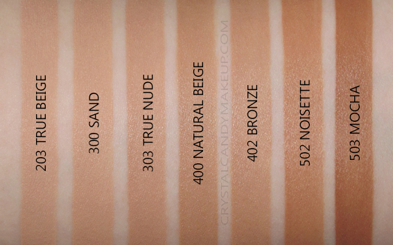 Rimmel Lasting Finish Breathable Foundation Swatches 203 300 303 400 402 502 503 NW35 NW40 NW42