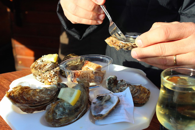 Oysters at Reims Christmas market in France