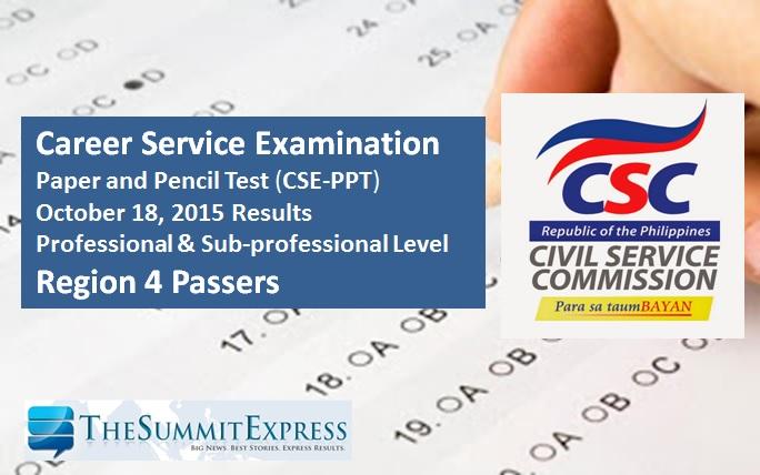 October 2015 Civil service exam (CSE-PPT) results Region 4