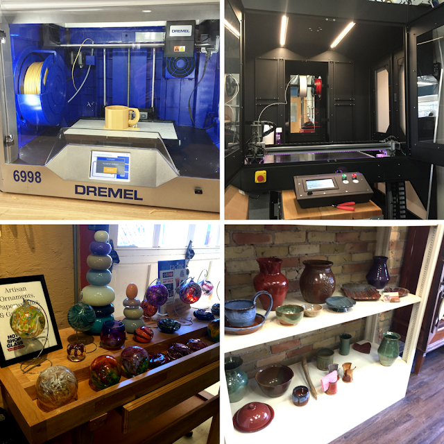 Art explorations in Racine including 3D printing (Fab Lab at Gateway Technical College), glassblowing (Hot Shop Glass) and pottery (Twice Baked Pottery).