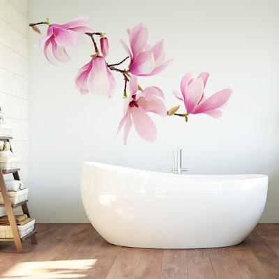 vinilo floral magnolia rosa 1004
