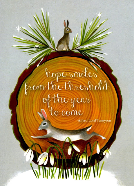 card with rabbits and snowdrops, text 'hope smiles from the threshold of the year to come - Alfred Lord Tennyson'