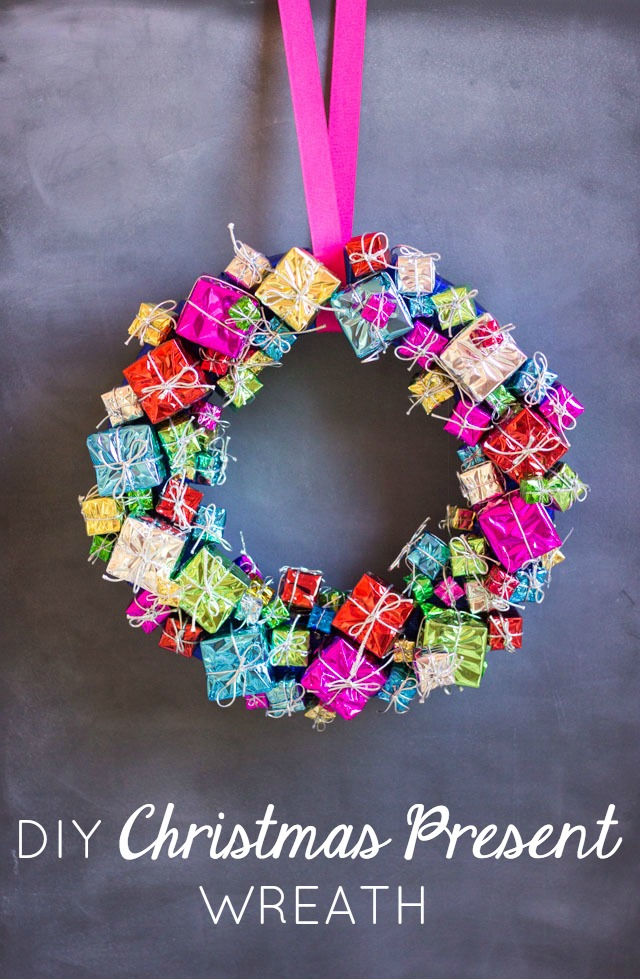 create this gorgeous christmas wreath with inexpensive present ornaments from the craft store