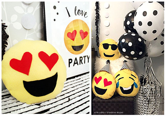 emoji pillows, heart eyes emoji, laughing emoji pillow, shades emoji