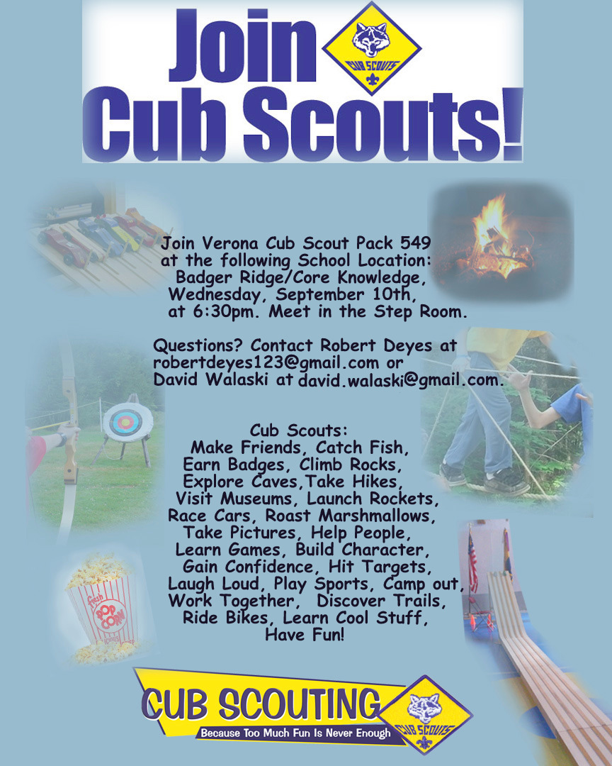 cub scout pack 549 verona  wi  september 2015