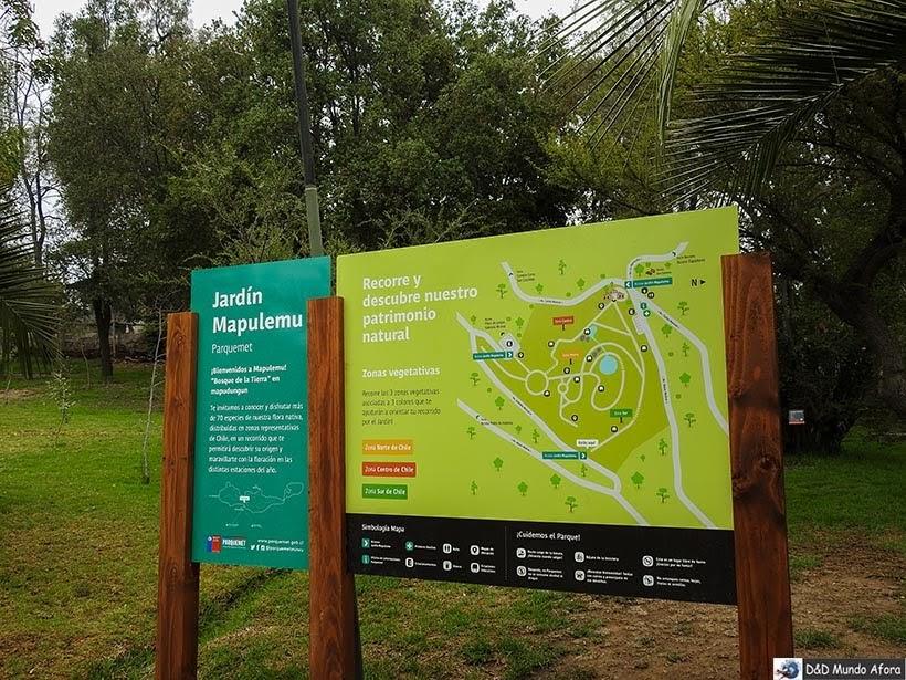 Mapa do Jardim Botânico Mapulemu no Parque Metropolitano - o que fazer em Santiago