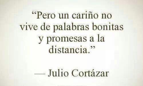 """""""Pero un cariño no vive de palabras bonitas y promesas a la distancia."""""""