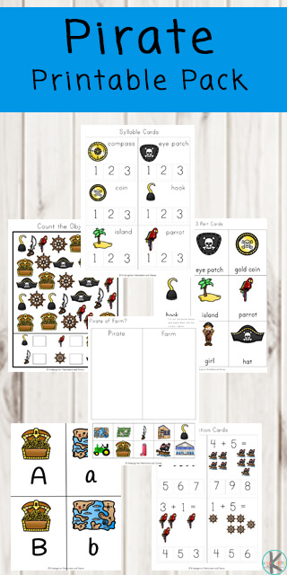 FREE Pirate Worksheets for kids - these free printable pirate pages are a fun way for preschool, kindergarten, and first grade kids learn about alphabet letters, counting, pirate words, addition, and more #preschool #kindergarten #freeworksheets #worksheetsforkids #kindergartenworksheets #preschoolworksheets #piratesforkids #kindergartenworksheetsforkids