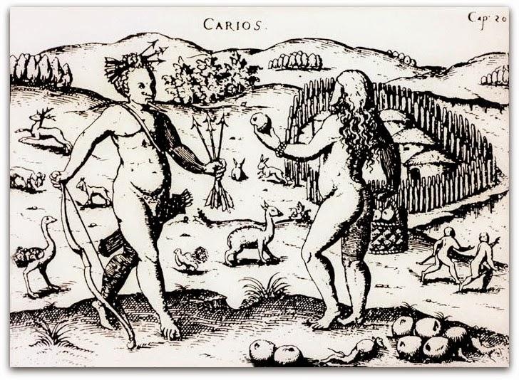 Índios Carijós de Santa Catarina retratados  em uma gravura de Ulrich Schmidl (1559)