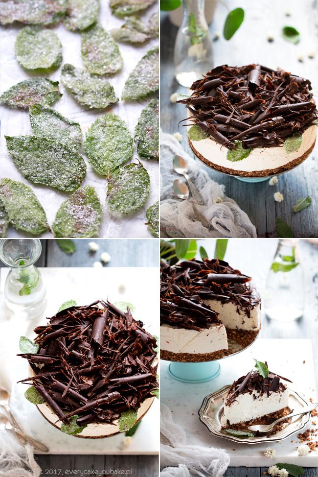 puszysty i orzeźwiający sernik miętowy z czekoladą na zimno