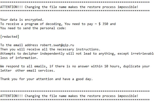 Messaggio del riscatto del ransomware DoNotChange
