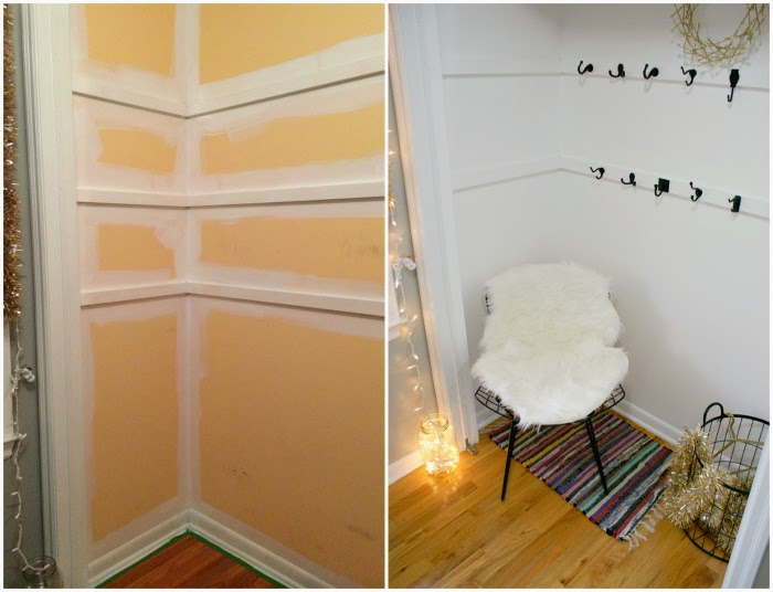 DIY coat closet makeover for holiday guests
