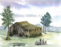 Watercolor landscape barn