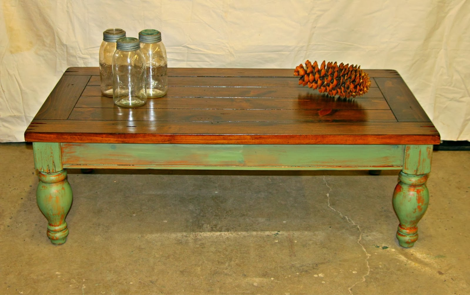 Laurel's Attic : Large Rustic Pine Coffee Table -SOLD