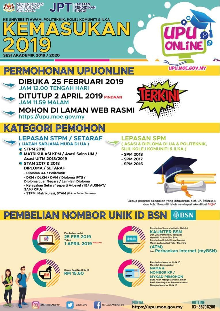 Permohonan UPU Lepasan SPM 2020 Online 1