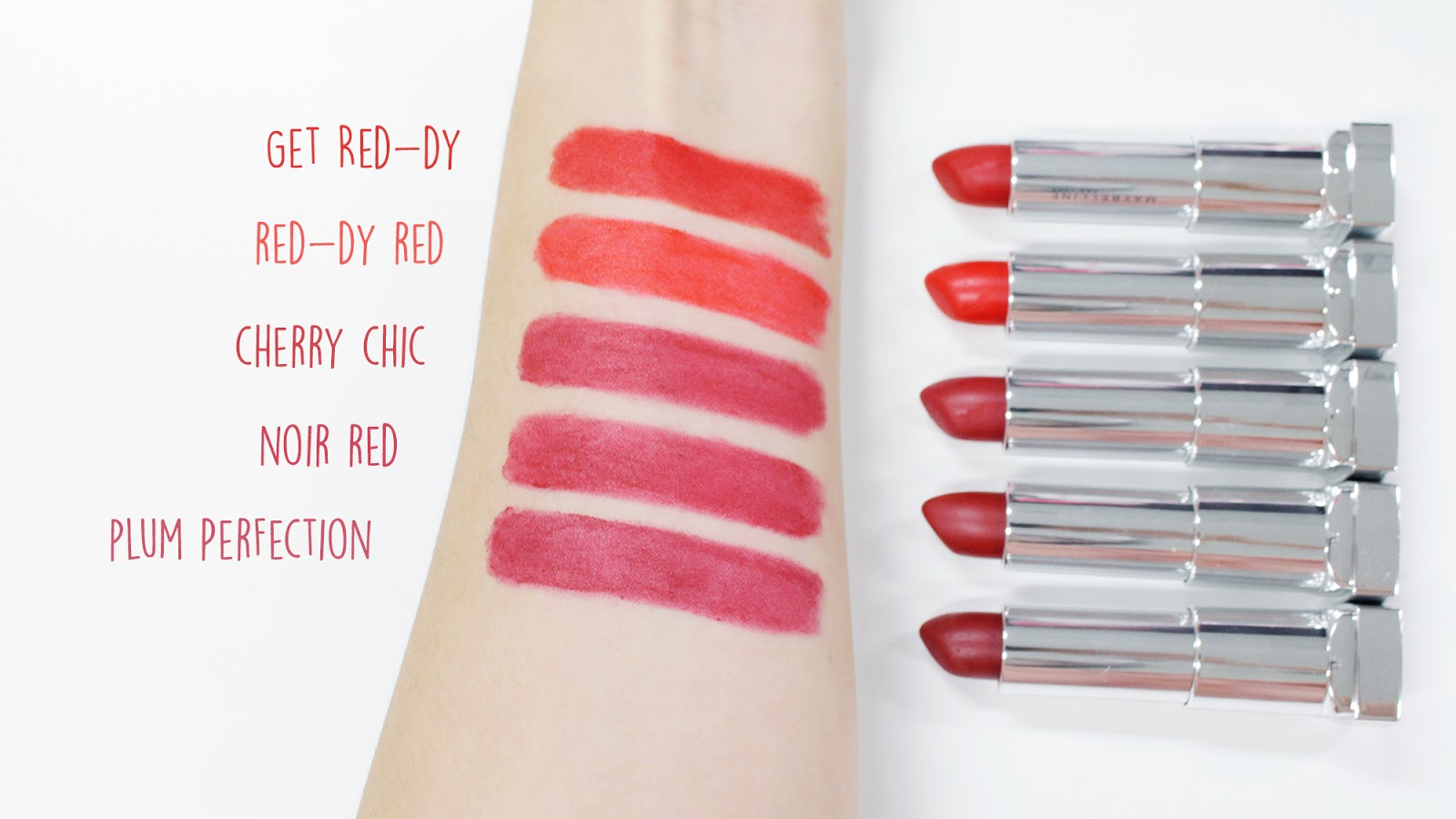 Maybelline The Powder Mattes Red Shades Swatches | www.bigdreamerblog.com