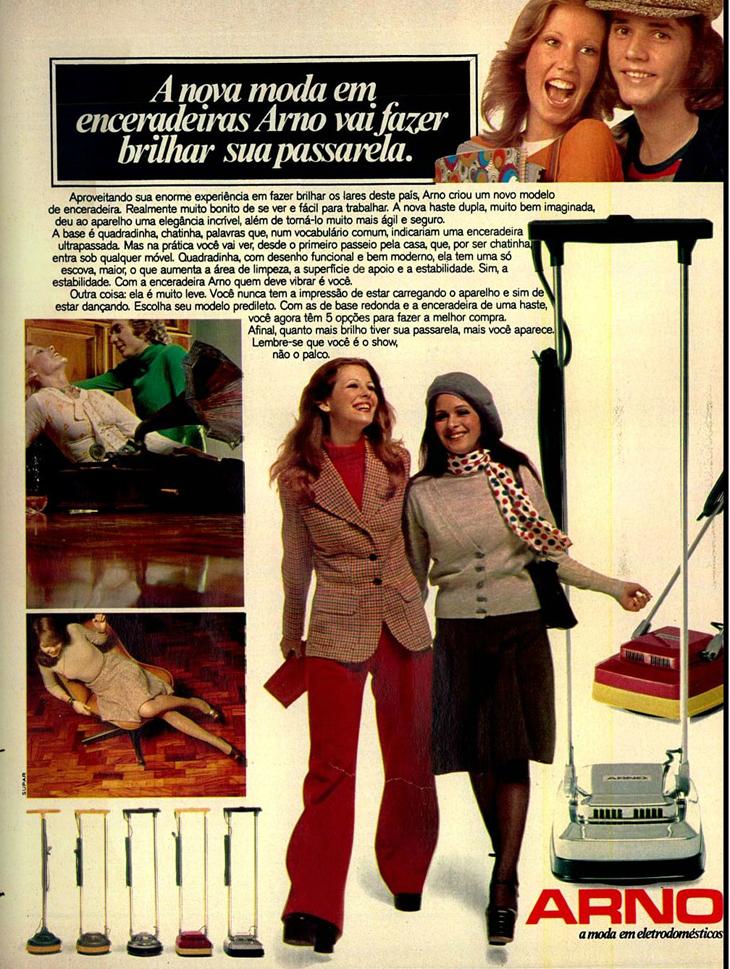 Propaganda veiculada nos anos 70 para promover a linha de enceradeiras da Arno