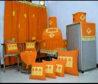 contoh home set kerajinan tenun atbm warna oranye