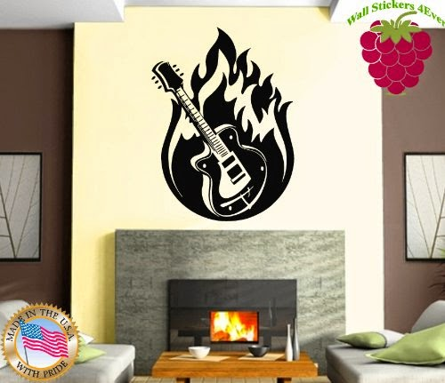 Wall Stickers Vinyl Decal Guitar and Fire Rock&Roll Rock Symbol Scary Ig1125