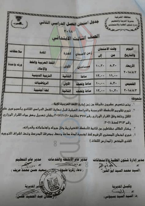 جدول امتحانات الصف الثالث الابتدائي الترم الثاني 2018 محافظة الشرقية