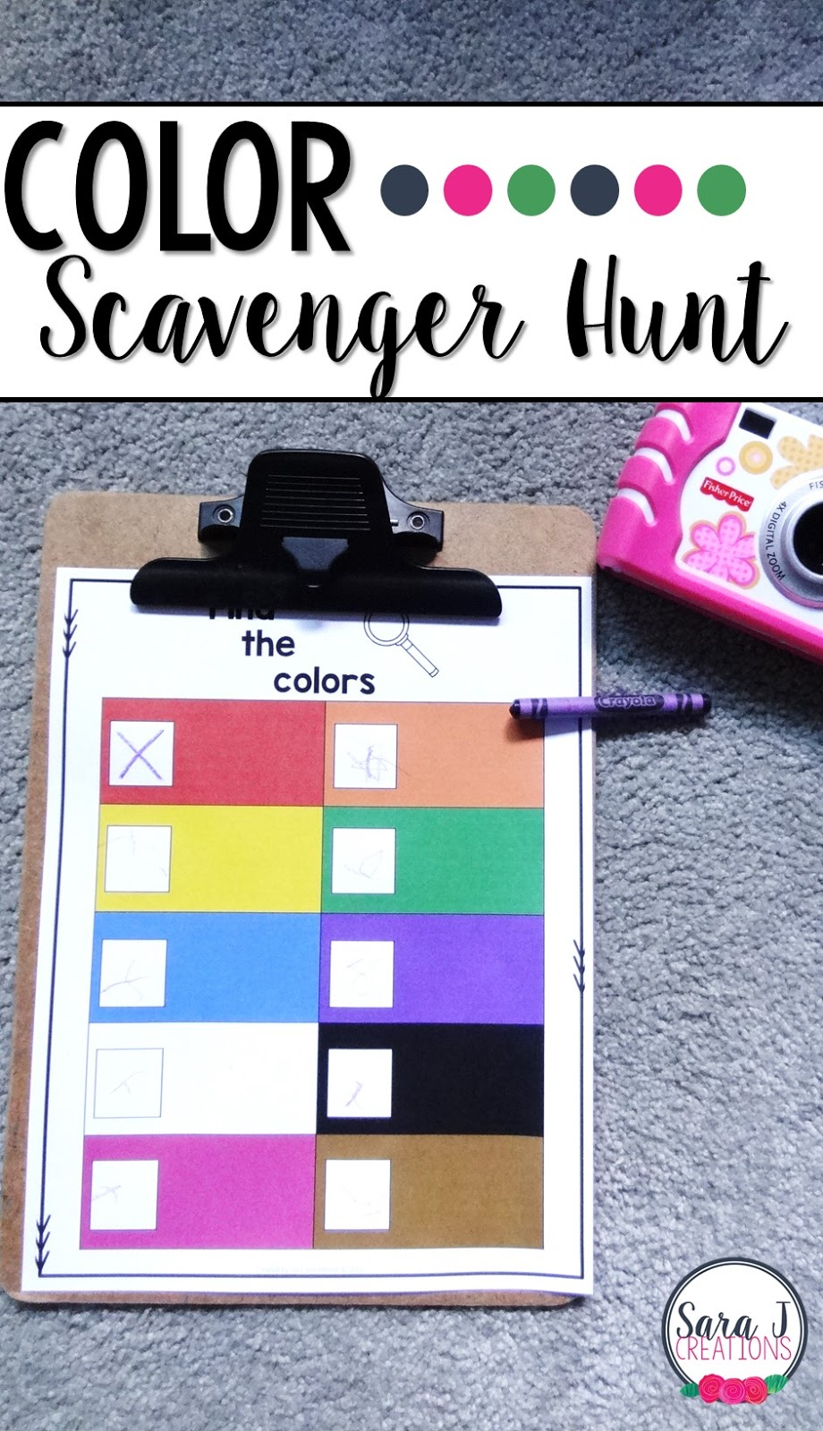 Reviewing colors?  Try a color scavenger hunt around your house, school or neighborhood.  So fun for kids!