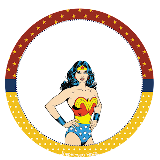 Toppers o Etiquetas de Mujer Maravilla Retro para imprimir gratis.