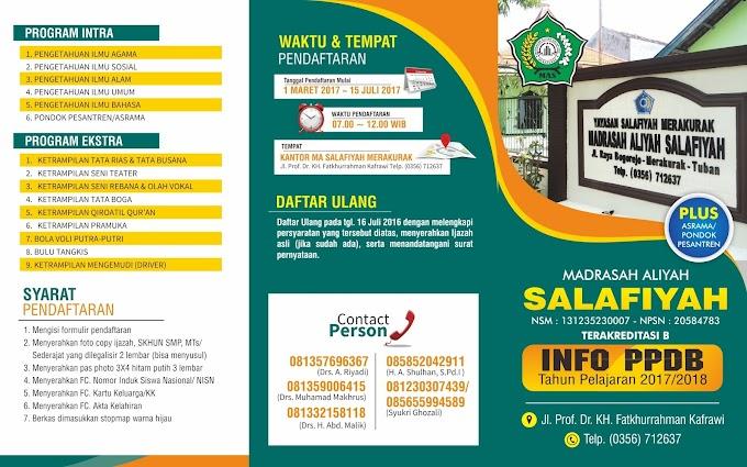 Informasi/brosur Penerimaan Peserta Didik Baru/PPDB Tahun Pelajaran 2017/2018 MA Salafiyah Merakurak