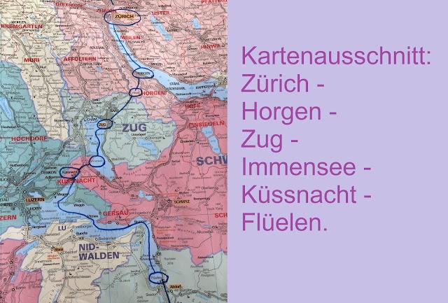 Kartenausschnitt Zürich - Zug - Küssnacht - Flüelen