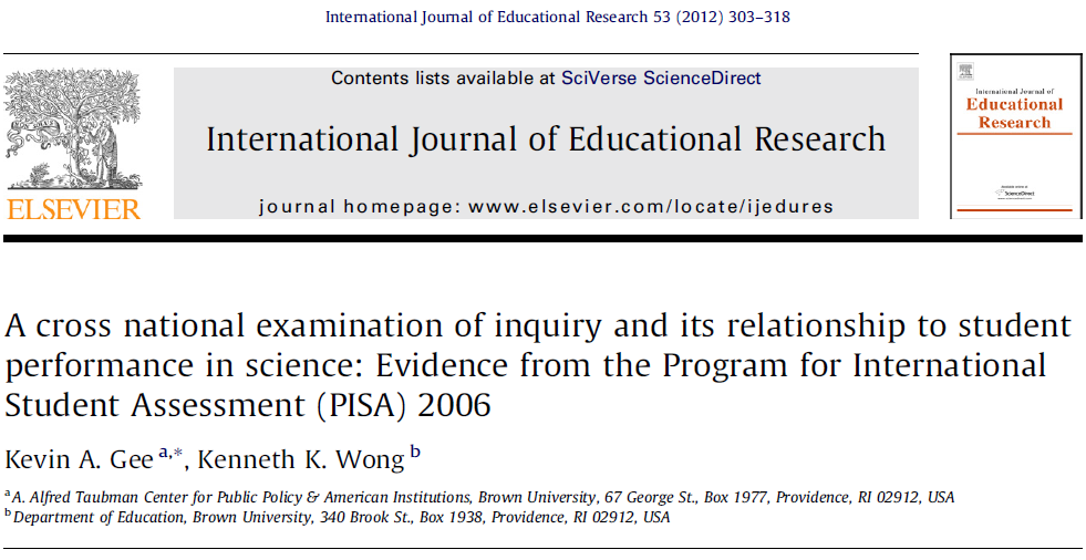Inquiry-Based Teaching Practices and Student's Science