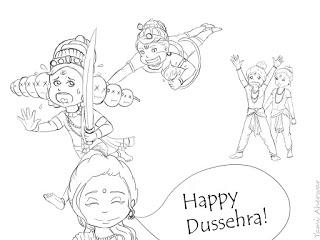 dussehra pics for coloring book pages | Dussehra Pictures For Drawing | Dussehra Pictures for Colouring ~ Happy Dussehra 2018