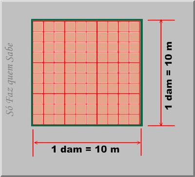 Ilustração mostrando um quadrado com lados de 1 dam divididos em metros. Isso para provar que 1 decâmetro quadrado tem 100 metros quadrados.